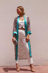 kimono turquesa look de día