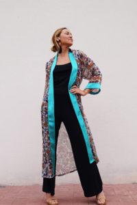 kimono turquesa look noche