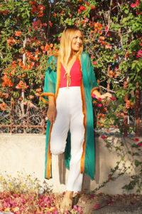 kimono gasa verde blanco