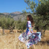 vestido flores azul y malva