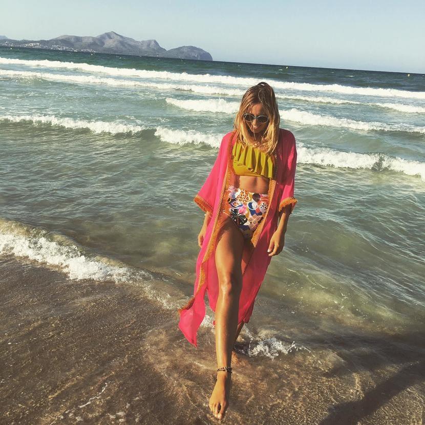 kimono flecos fucsia gasa bikini