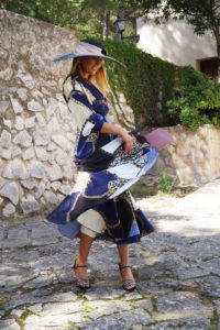 vestido kimono tanzania azul con pamela